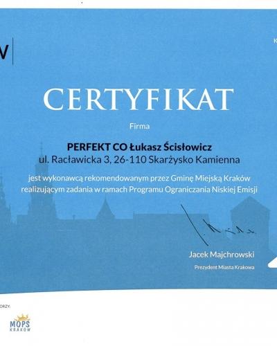 Certyfikat PONE PERFEKT CO